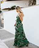 Let's Palm A Getaway Ruffle Wrap Maxi Dress