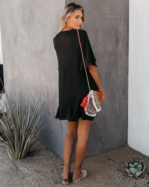Let's Tango Pocketed Ruffle Dress - Onyx - FINAL SALE
