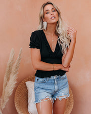 Let The Breeze In Smocked Ruffle Crop Top - Black - FINAL SALE