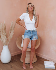Let The Breeze In Smocked Ruffle Crop Top - Ivory  - FINAL SALE view 11