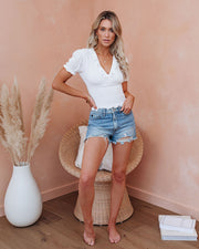 Let The Breeze In Smocked Ruffle Crop Top - Ivory  - FINAL SALE view 10