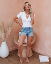 Let The Breeze In Smocked Ruffle Crop Top - Ivory  - FINAL SALE view 9