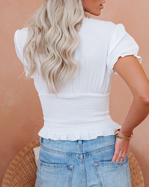 Let The Breeze In Smocked Ruffle Crop Top - Ivory  - FINAL SALE