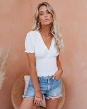 Let The Breeze In Smocked Ruffle Crop Top - Ivory  - FINAL SALE view 1
