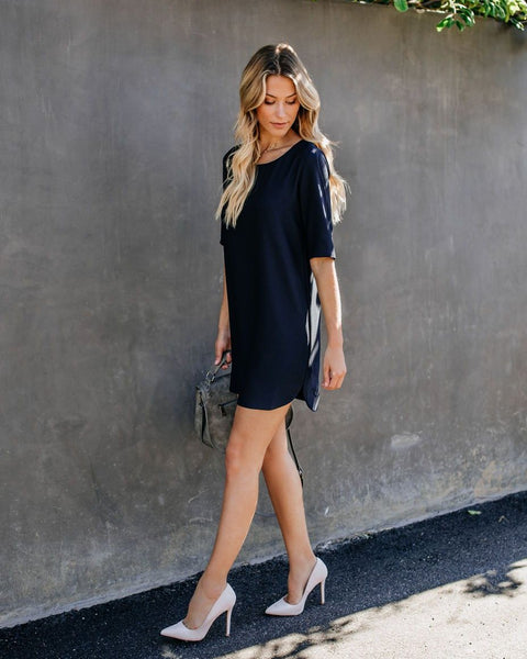 Let Your Hair Down Shift Dress - Navy