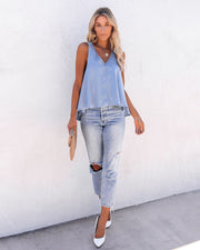 Levitate Satin High Low Lace Tank - Dusty Blue - FINAL SALE