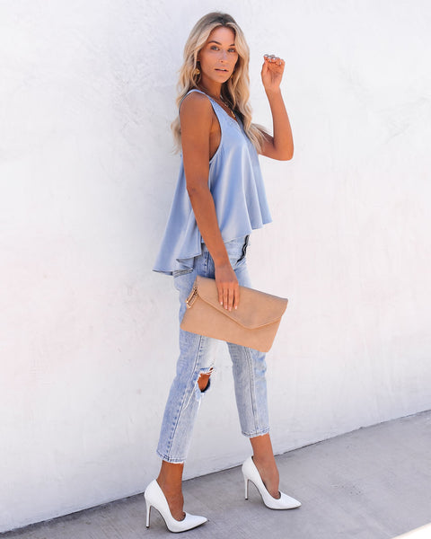 Levitate Satin High Low Lace Tank - Dusty Blue