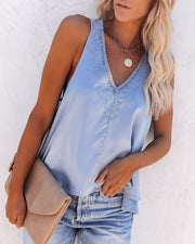 Levitate Satin High Low Lace Tank - Dusty Blue - FINAL SALE view 1