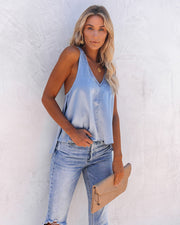 Levitate Satin High Low Lace Tank - Dusty Blue - FINAL SALE view 7