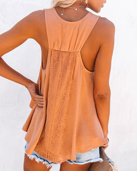 Levitate Satin High Low Lace Tank - Misty Orange
