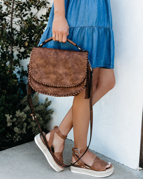 Liana Braided Tassel Crossbody Bag - Cognac