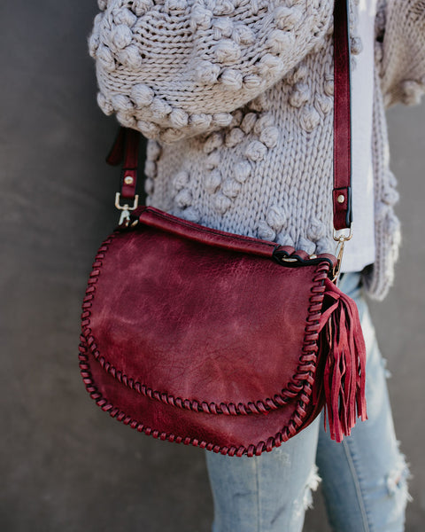 Liana Braided Tassel Crossbody Bag - Sangria