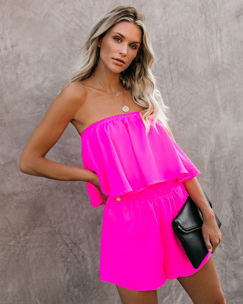 24ea9f8d9 Life In Color Strapless Pocketed Romper - Barbie Pink