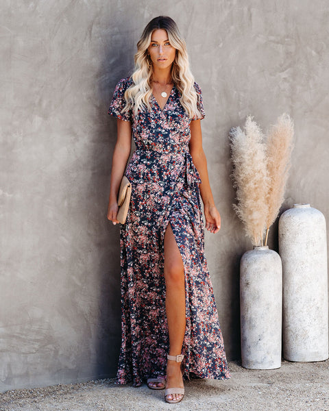 Lighthearted Floral Wrap Maxi Dress