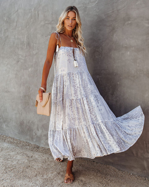 Lights Down Low Tiered Tassel Midi Dress