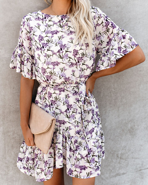 Lilacs Of Love Floral Ruffle Dress