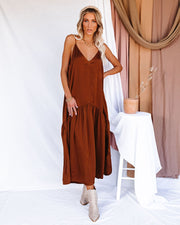 Limelight Satin High Low Maxi Dress - Camel