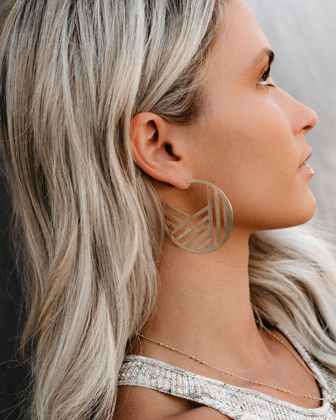 Linear Love Hoop Earrings