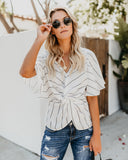 Line It Up Twist Blouse - Off White