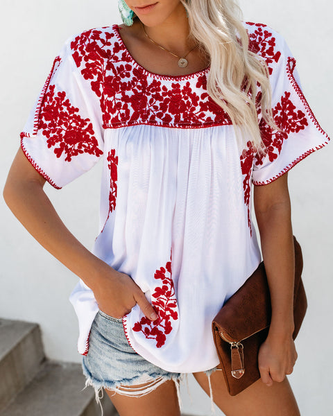 Linnea Embroidered Babydoll Top