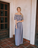 Little Italy Off The Shoulder Maxi Dress - Dove Grey
