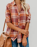 Little Town Cotton Pocketed Plaid Top