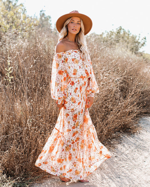 Live For Sunsets Floral Smocked Maxi Dress