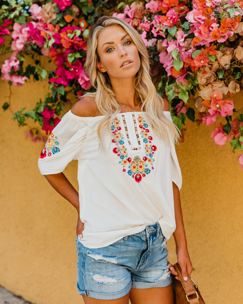 Live In The Sunshine Embroidered Top - FINAL SALE