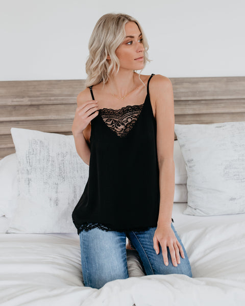 Living In The Moment Lace Cami Tank - Black