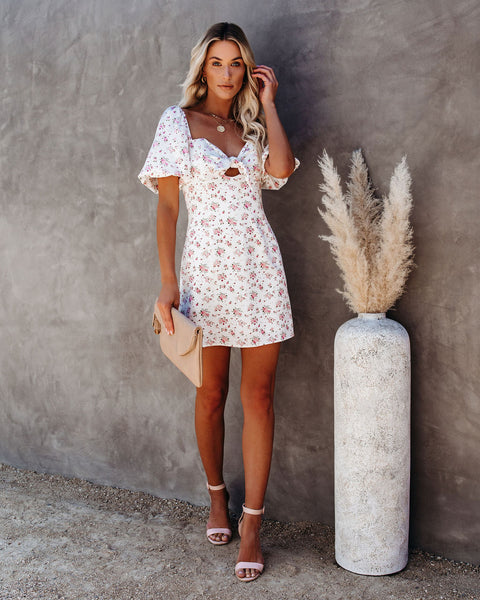 Livingston Floral Puff Sleeve Tie Dress
