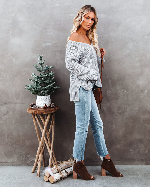 Locals Cotton V-Neck Sweater - Grey - FINAL SALE view 6