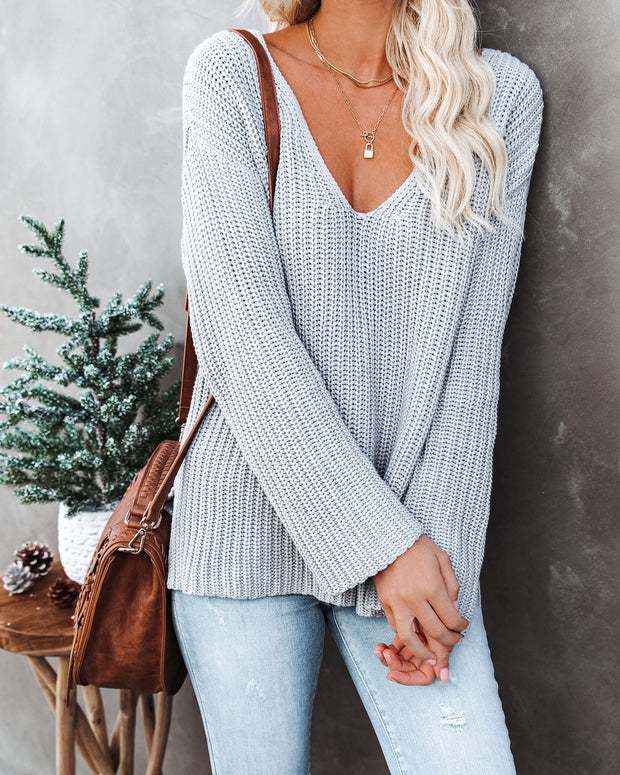Locals Cotton V-Neck Sweater - Grey - FINAL SALE view 9