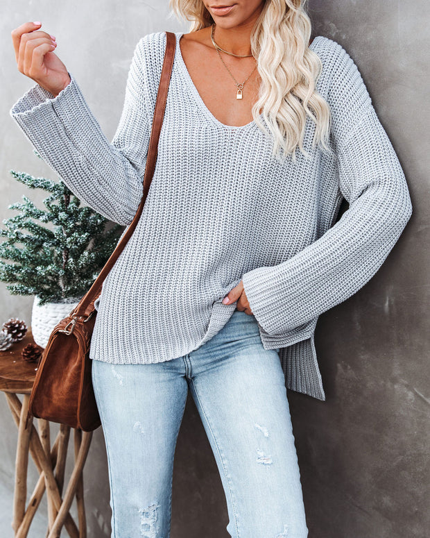 Locals Cotton V-Neck Sweater - Grey - FINAL SALE view 5