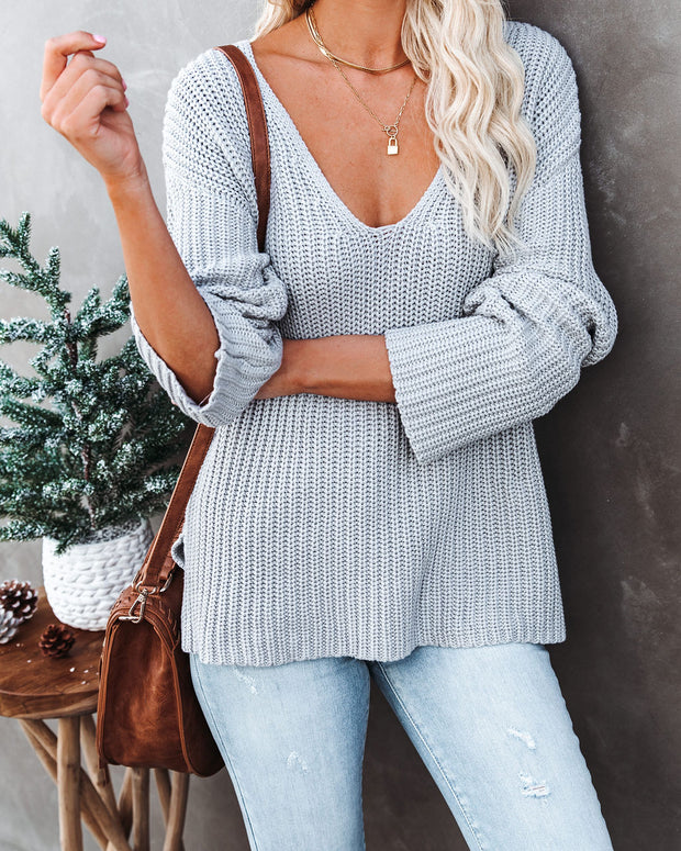 Locals Cotton V-Neck Sweater - Grey - FINAL SALE view 3