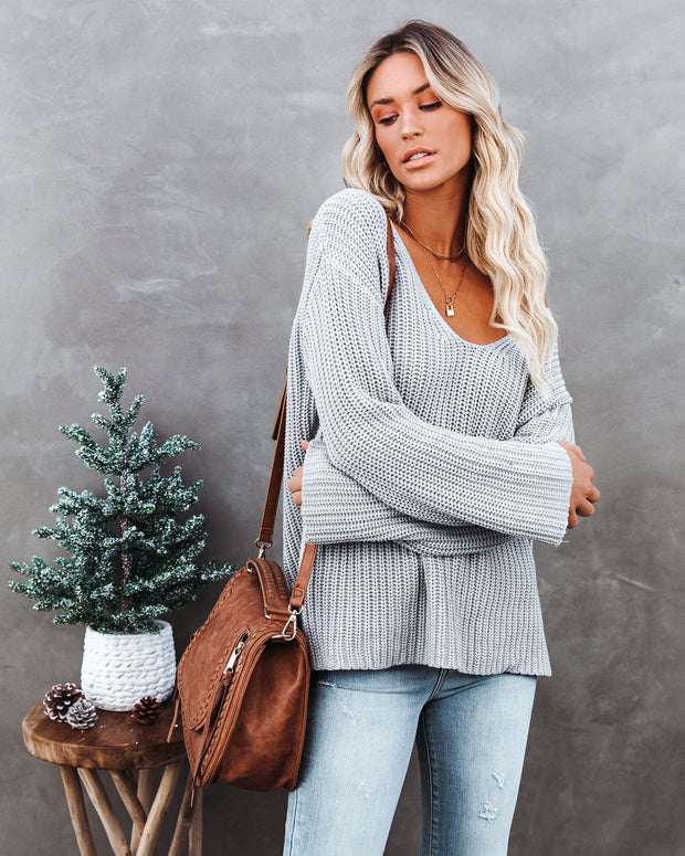 Locals Cotton V-Neck Sweater - Grey - FINAL SALE view 7
