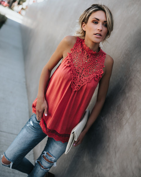 Lolita Crochet Tank - Salmon - FLASH SALE