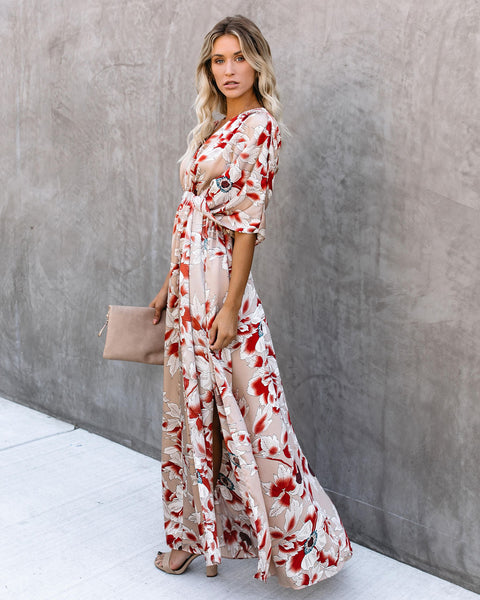 Long Ago Tie Back Kimono Maxi Dress - FINAL SALE