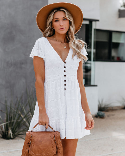 Long Beach Button Down Eyelet Babydoll Dress