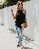 Long Live Love Crochet Tank - Black