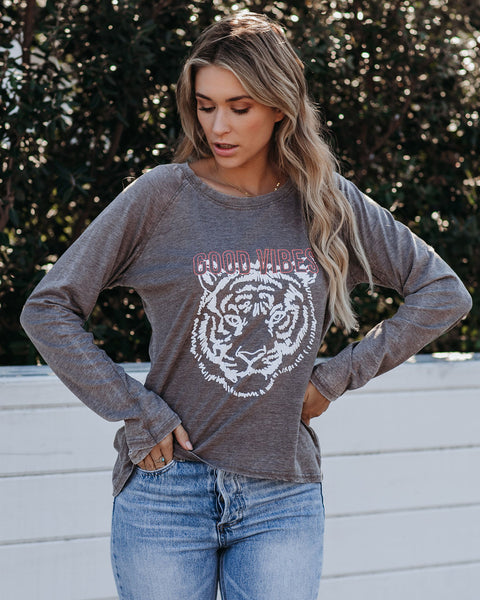 Long Sleeve Good Vibes Tiger Tee   - FINAL SALE