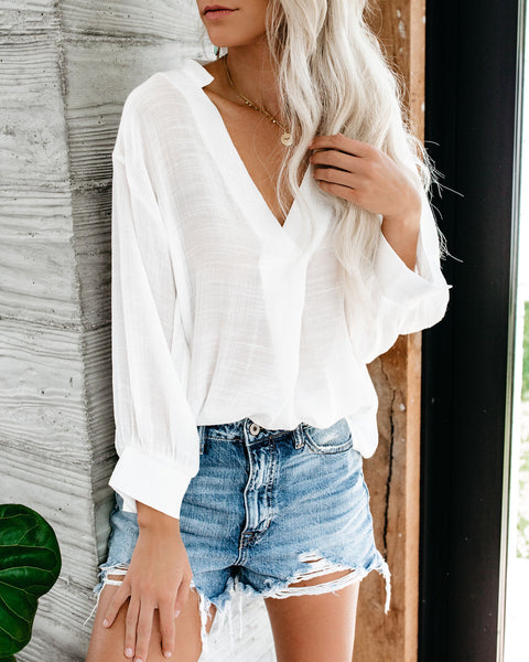 Long Walks On The Beach Blouse - Marshmallow