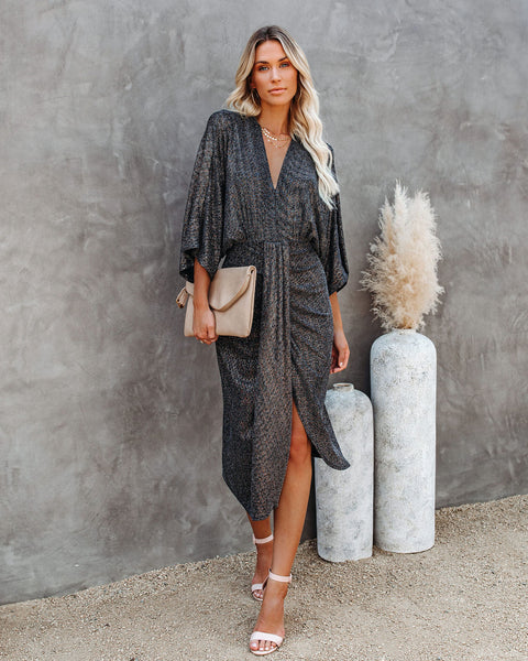 Looking Forward Metallic Kimono Midi Dress