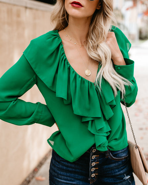 Look On The Bright Side Cascading Ruffle Blouse