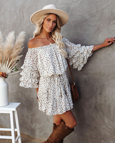 Lookout Mountain Printed Off The Shoulder Dress