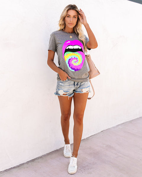Loopy Doopy Tie Dye Tongue + Lips Tee