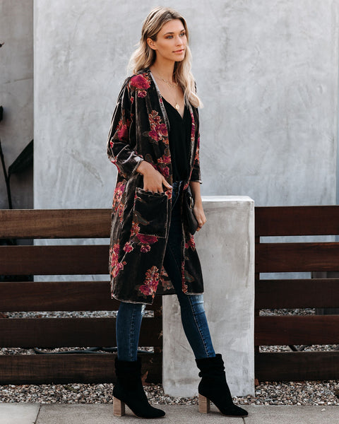 Lorraine Velvet Floral Pocketed Cardigan - FINAL SALE