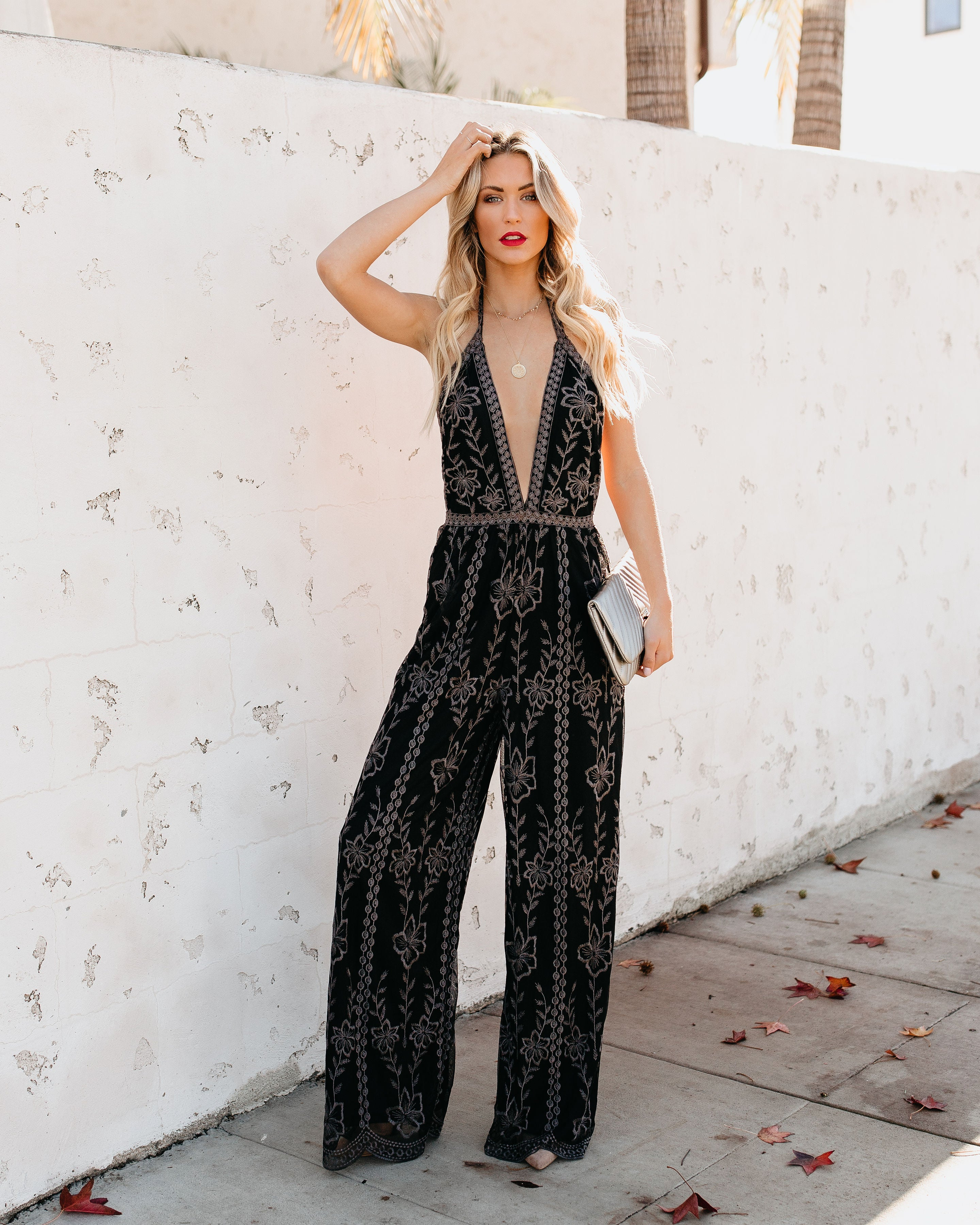 664c0809dce8 Detail Product. ← Home - EXTRA SMALL - Lovato Embroidered Lace Halter  Jumpsuit
