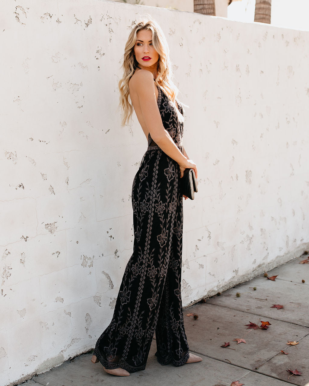 9a0c567df90d Lovato Embroidered Lace Halter Jumpsuit – VICI