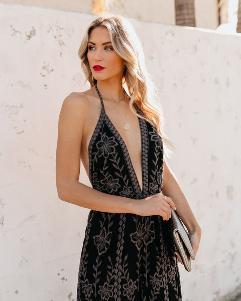 Lovato Embroidered Lace Halter Jumpsuit