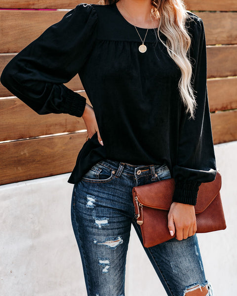 Love Ain't Simple Velvet Top - Black